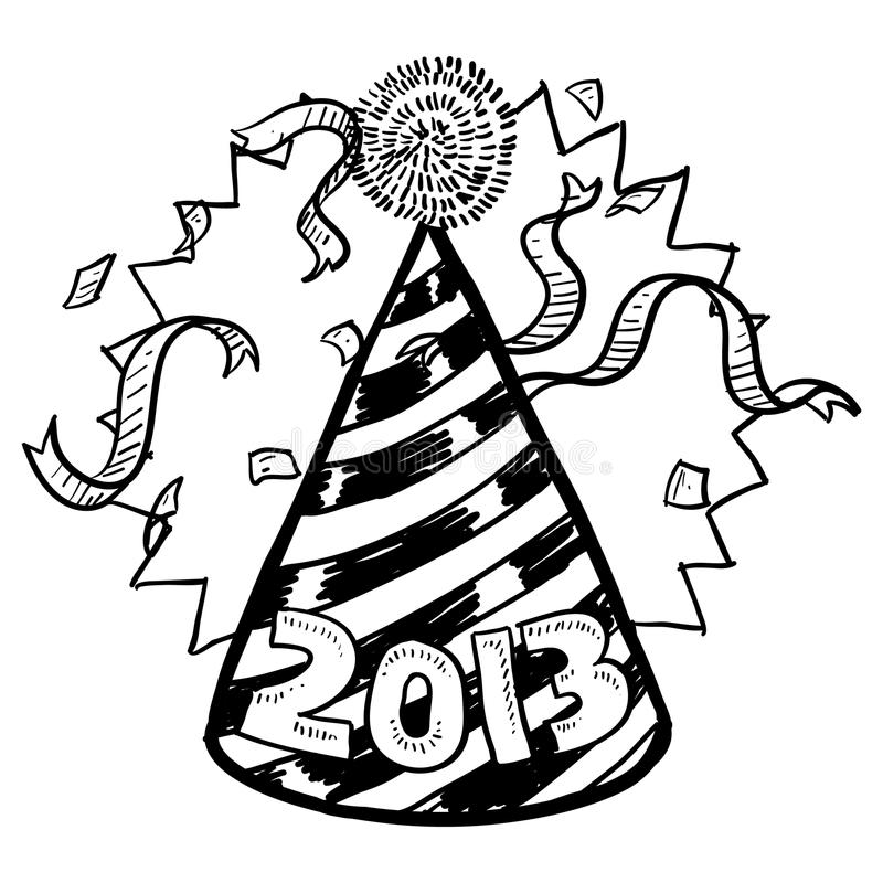 Bosquejo del sombrero del partido de Noche Vieja 2013 stock de ilustración