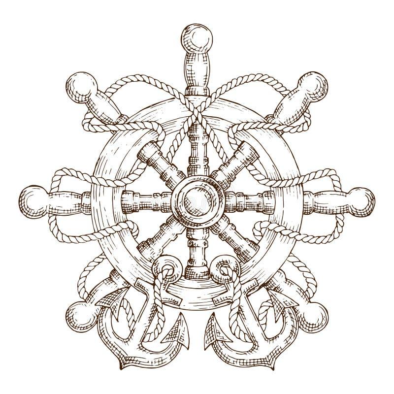 Bosquejo del timón náutico con la cuerda y las anclas ilustración del vector