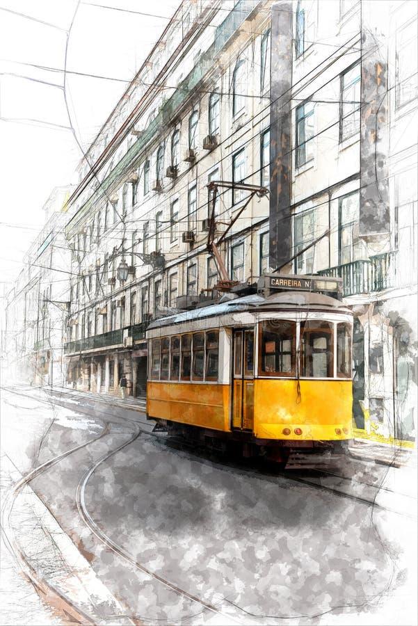 Bosquejo del tranvía de Lisboa ilustración del vector
