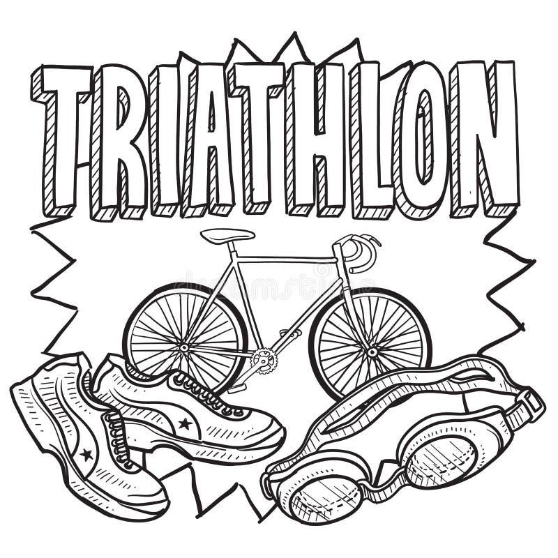 Bosquejo del Triathlon ilustración del vector