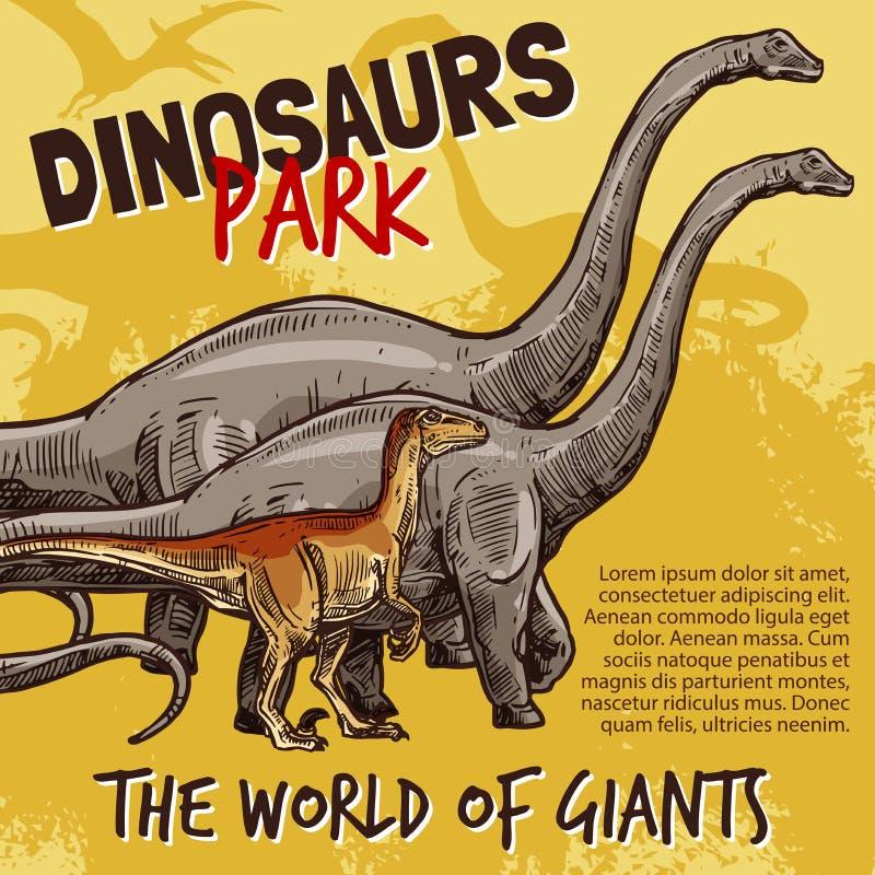 Bosquejo del vector del cartel del parque de los dinosaurios stock de ilustración