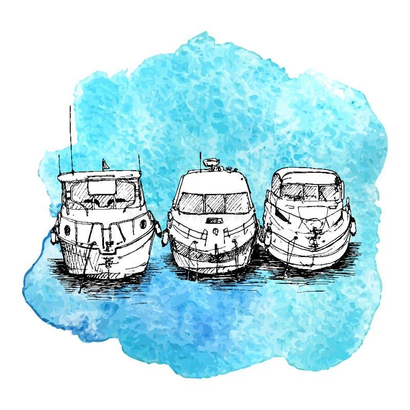 Bosquejo del vector de barcos libre illustration