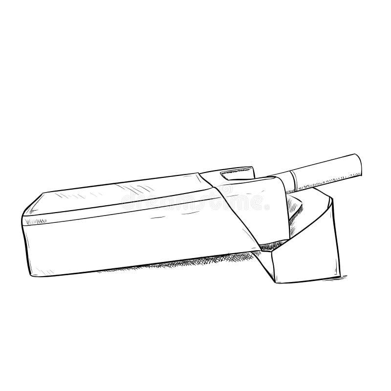 Bosquejo del vector de los cigarrillos del paquete stock de ilustración