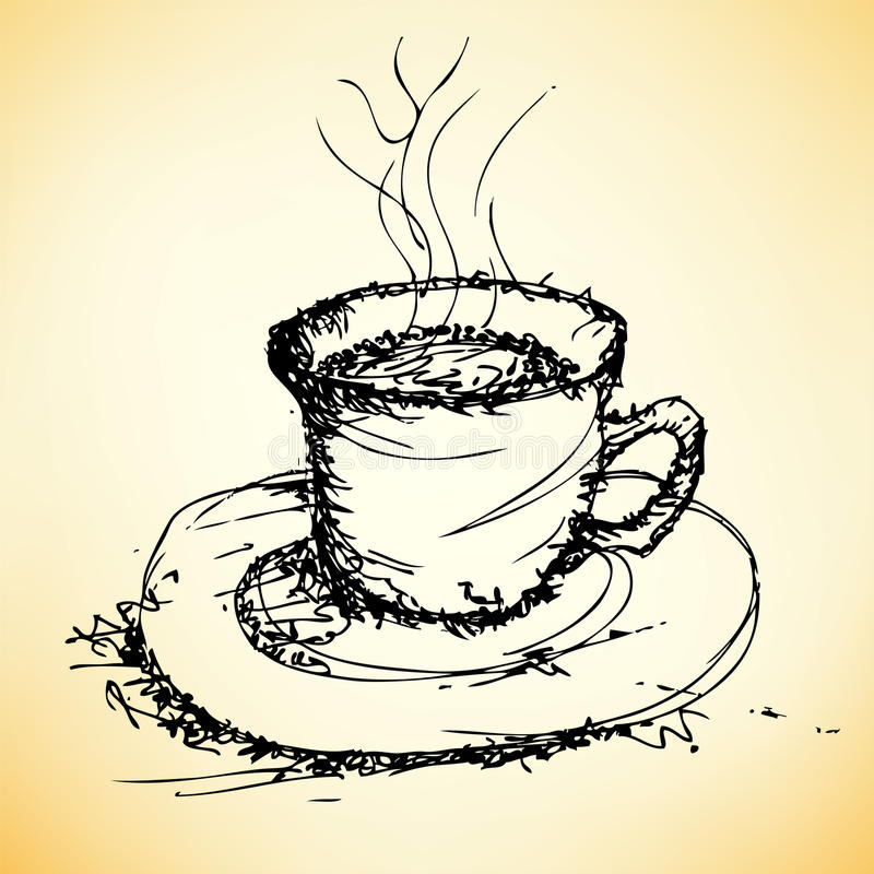Bosquejo del vector del café stock de ilustración