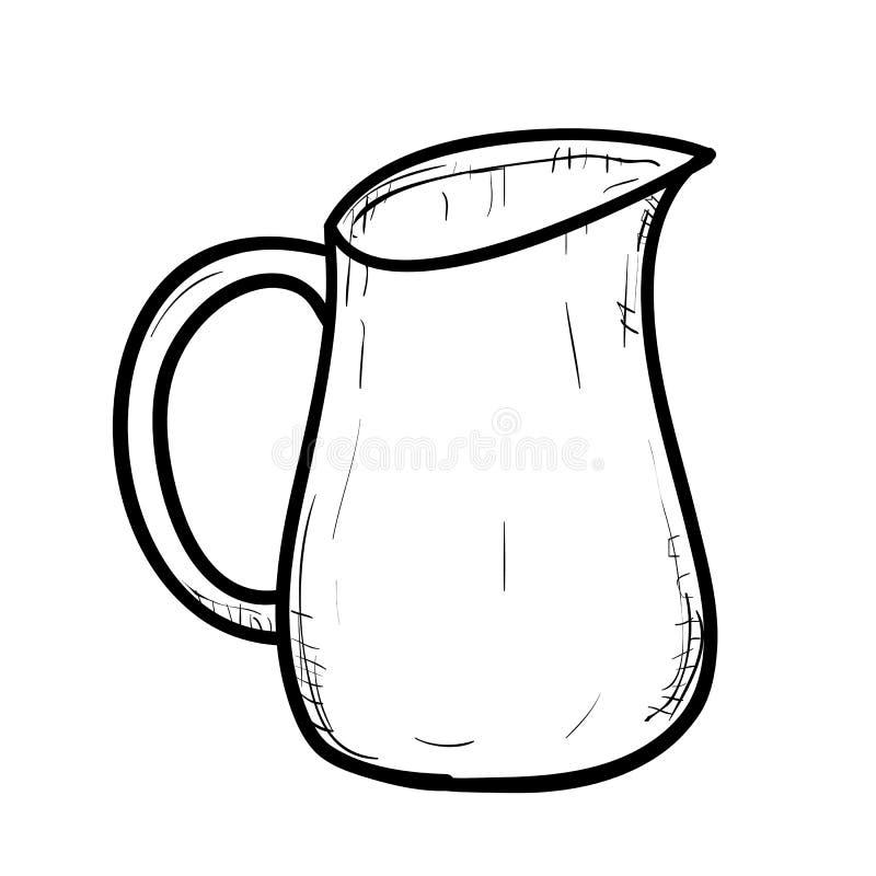Bosquejo del vector del jarro del garabato ilustración del vector