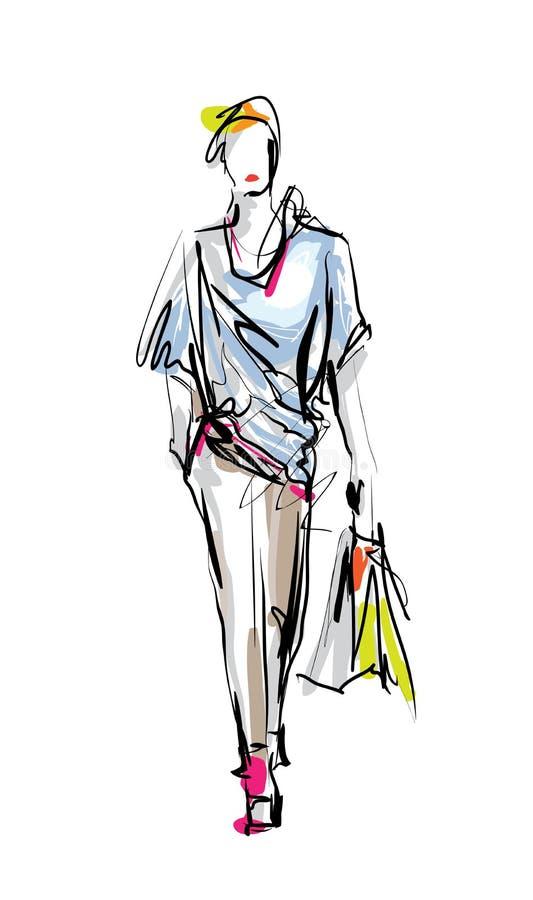 Bosquejo del vector del modelo de moda libre illustration