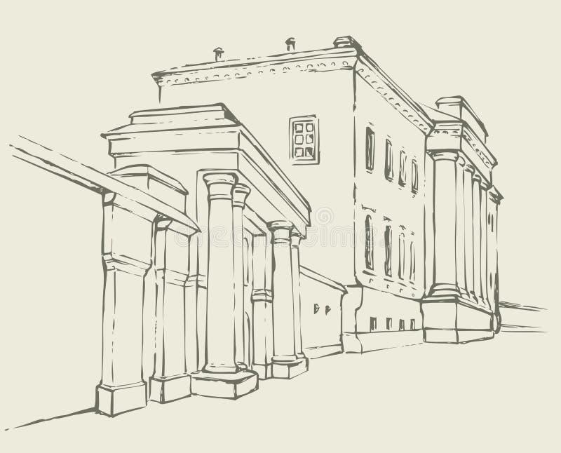 Bosquejo del vector Edificio masivo con una columnata stock de ilustración