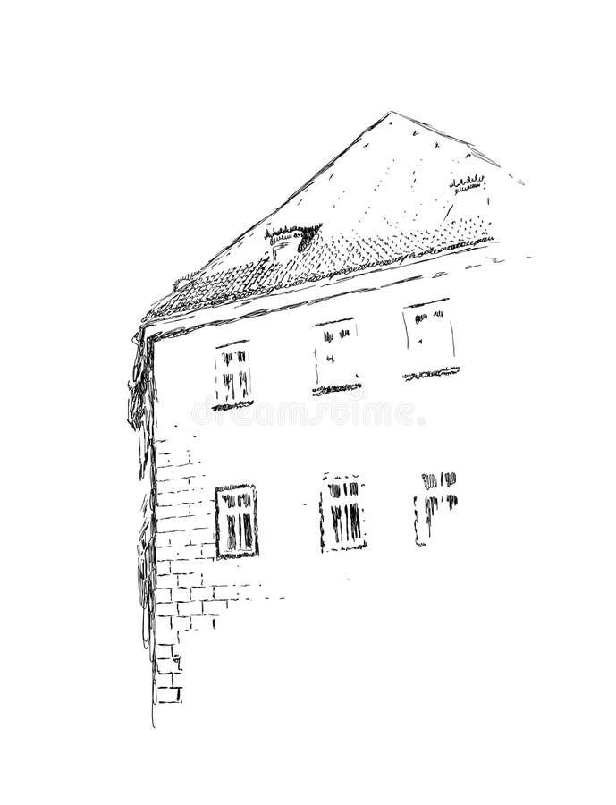 Bosquejo del vector del ejemplo exhausto constructivo europeo de la mano en colores blancos y negros stock de ilustración