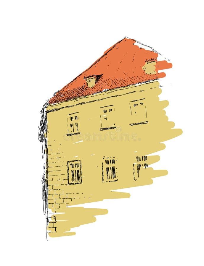 Bosquejo del vector del ejemplo exhausto constructivo europeo de la mano en el fondo blanco libre illustration