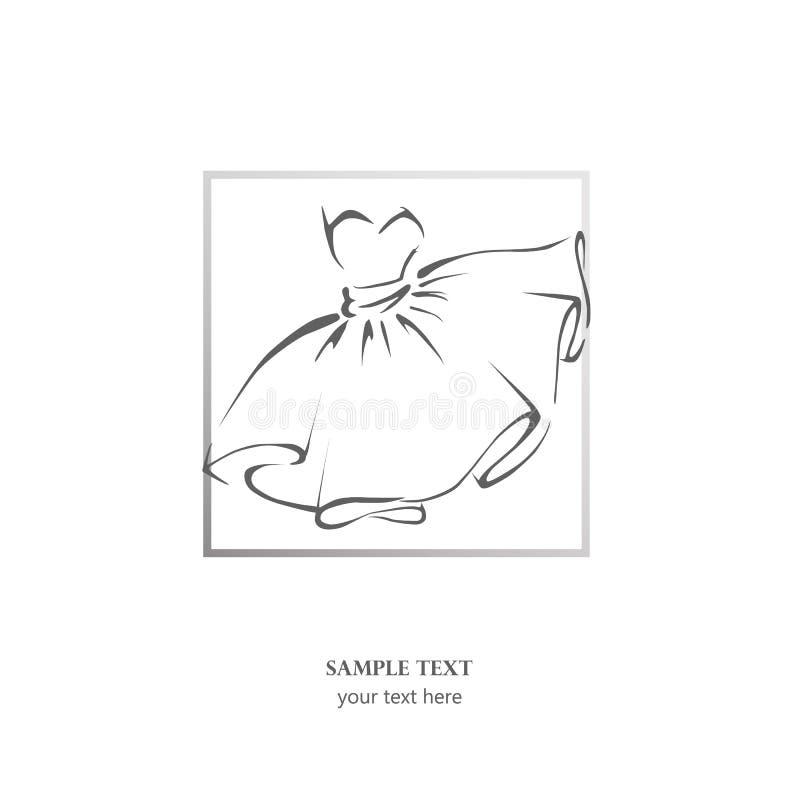 Bosquejo del vestido, stock de ilustración