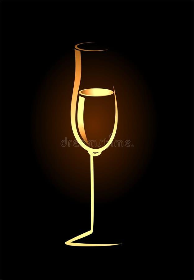 Bosquejo del vidrio de oro aislado del champán libre illustration