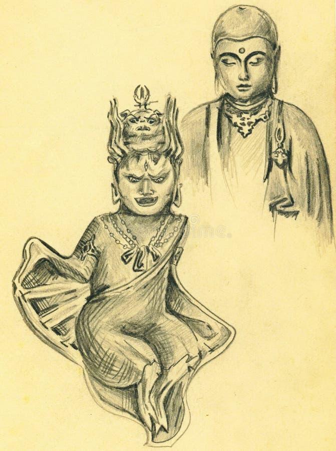 Bosquejo del vintage de dioses hindúes ilustración del vector