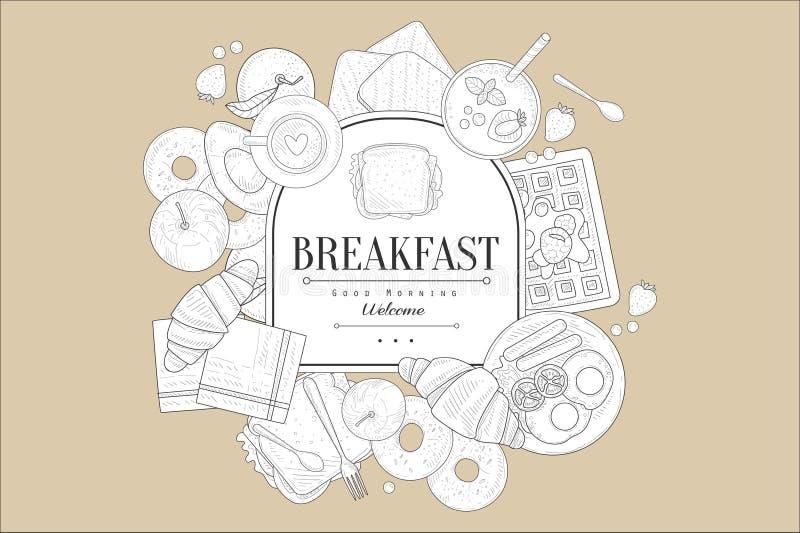 Bosquejo del vintage de los cruasanes, panecillos, huevos con las salchichas, bocadillos, rebanadas del pan, caf?, frutas Vector  ilustración del vector