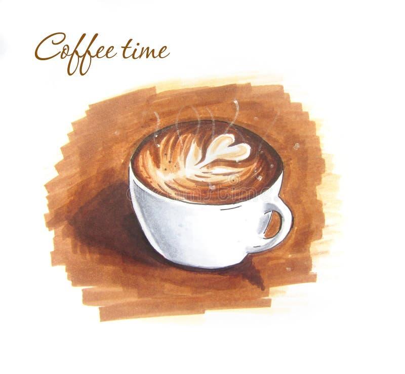 Bosquejo del vintage del arte del Latte stock de ilustración