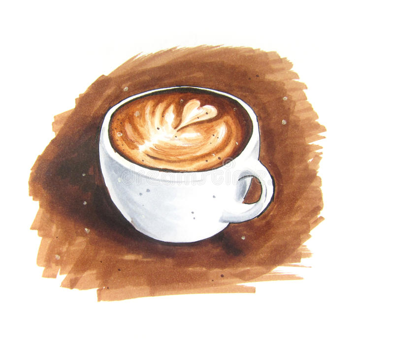 Bosquejo del vintage del arte del Latte ilustración del vector