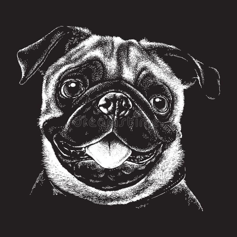 Bosquejo detallado del retrato de un barro amasado dog' cara de s stock de ilustración