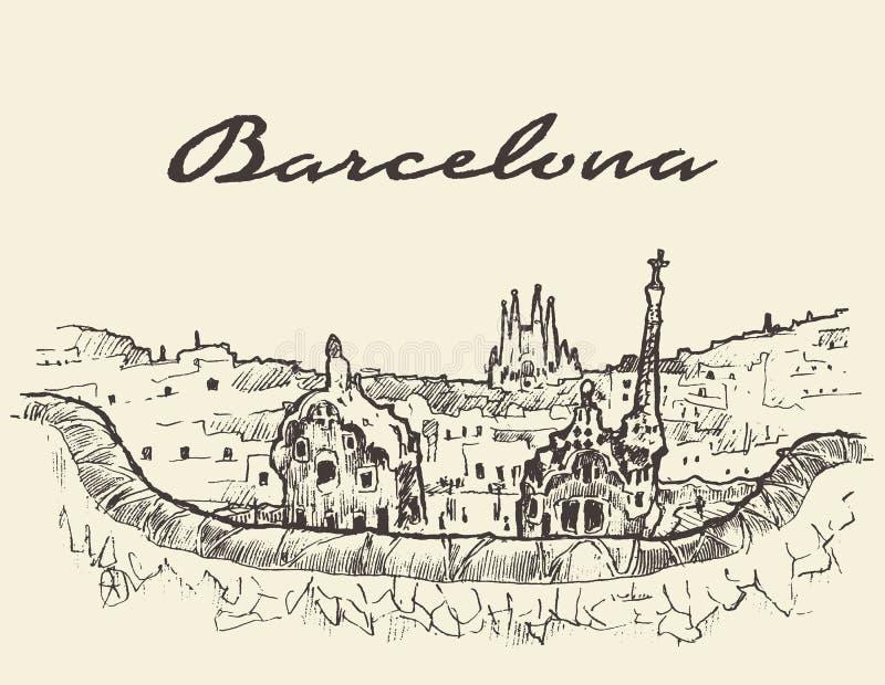 Bosquejo dibujado ejemplo de Barcelona España libre illustration