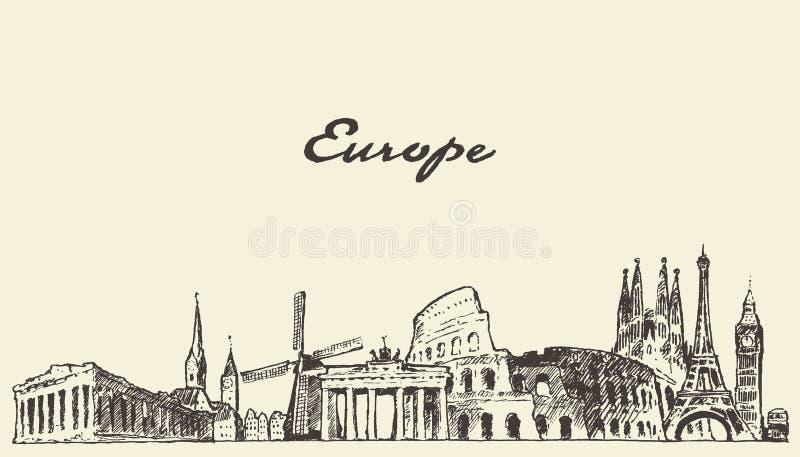 Bosquejo dibujado ejemplo del vector del horizonte de Europa ilustración del vector