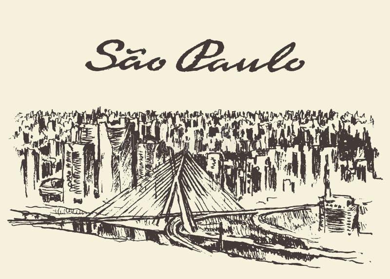 Bosquejo dibujado ejemplo del vector del horizonte de Pablo del sao libre illustration
