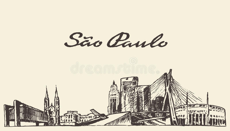 Bosquejo dibujado ejemplo del vector del horizonte de Sao Paulo libre illustration