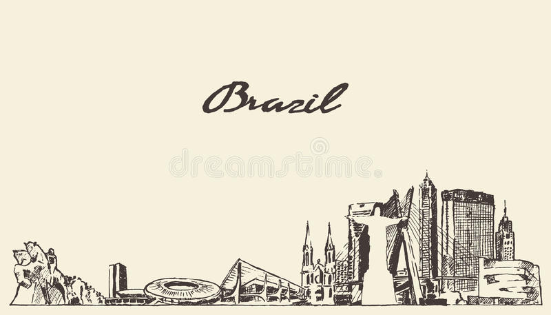 Bosquejo dibujado ejemplo del vector del horizonte del Brasil ilustración del vector