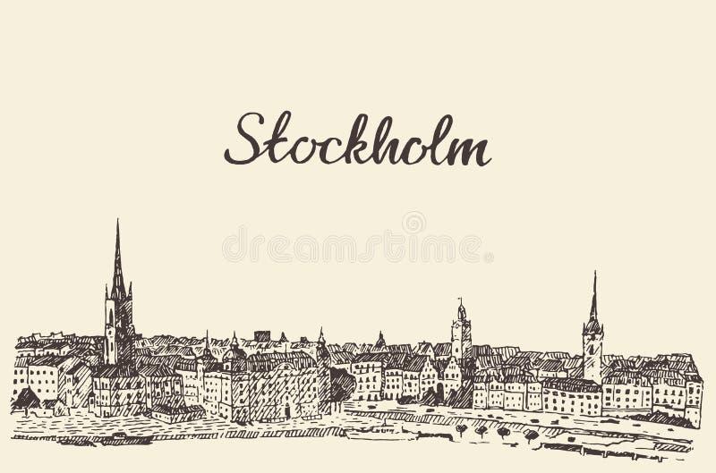 Bosquejo dibujado grabado vector del horizonte de Estocolmo ilustración del vector