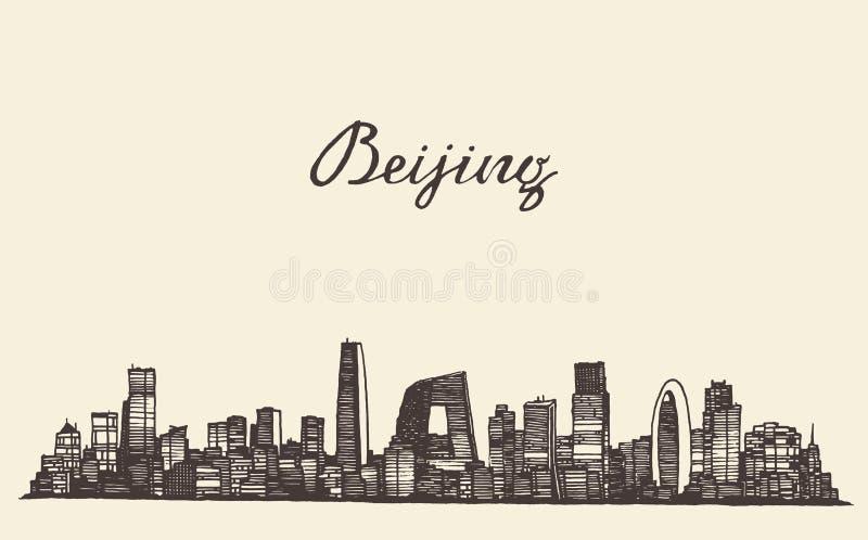 Bosquejo dibujado grabado vector del horizonte de Pekín libre illustration
