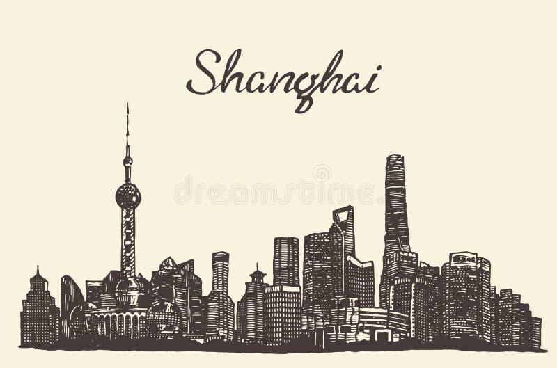 Bosquejo dibujado grabado vector del horizonte de Shangai ilustración del vector