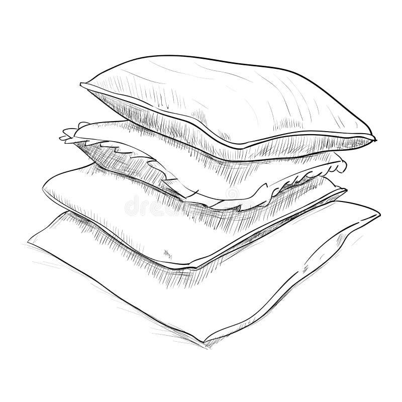 Bosquejo dibujado mano de almohadas libre illustration