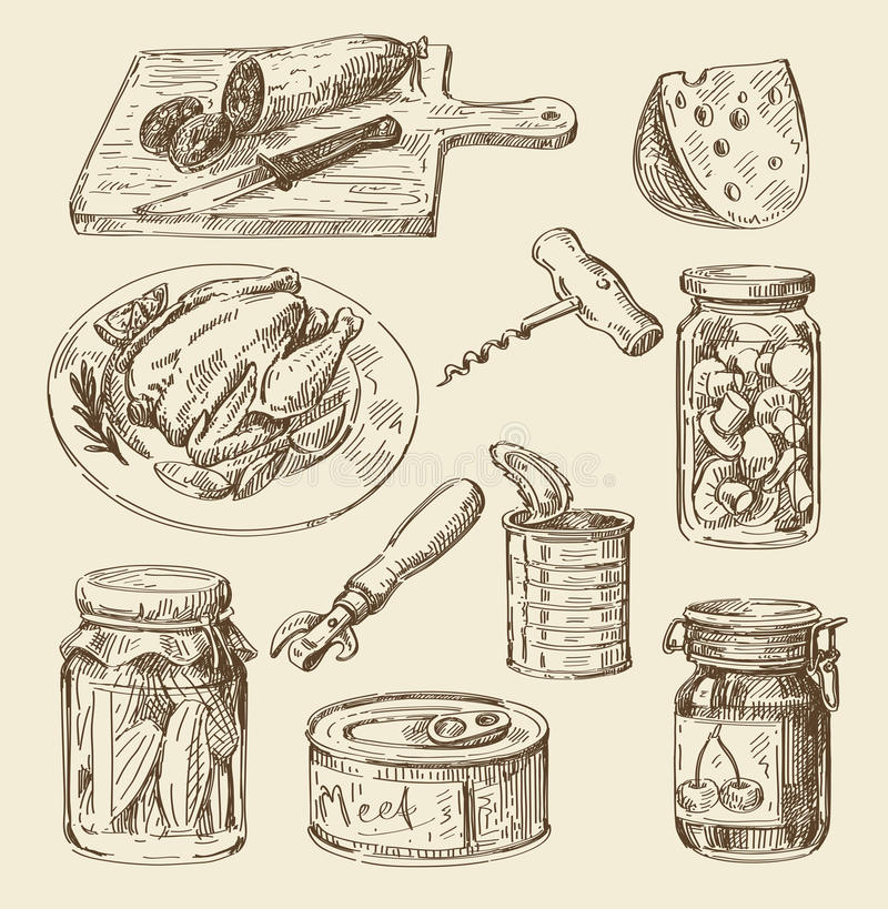 Bosquejo dibujado mano de la comida stock de ilustración