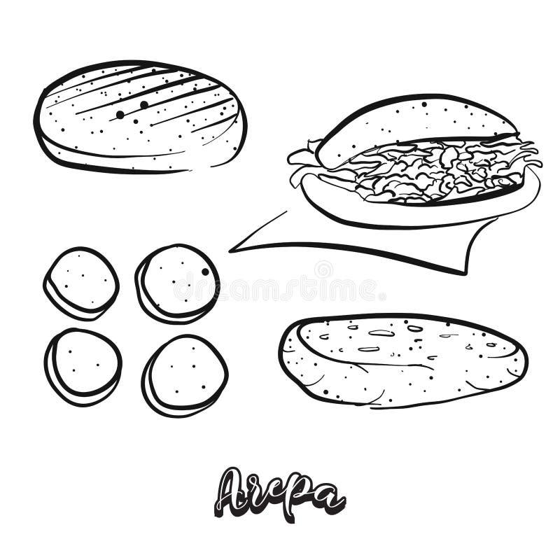Bosquejo dibujado mano de la comida de Arepa ilustración del vector