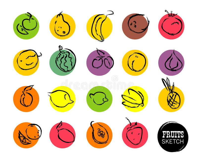 Bosquejo dibujado mano de las frutas del vector stock de ilustración