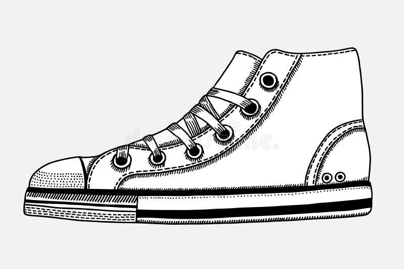 Bosquejo dibujado mano de los zapatos del deporte libre illustration