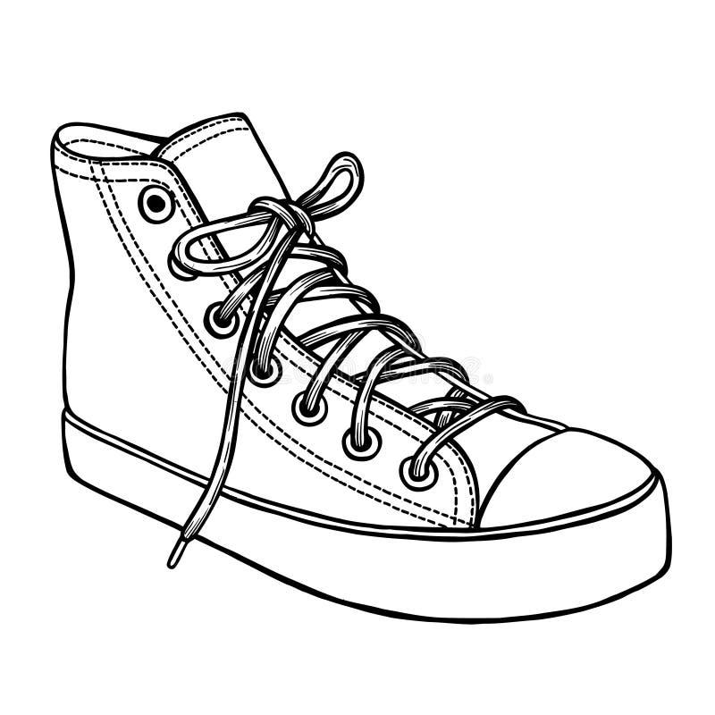 Bosquejo dibujado mano de los zapatos del deporte ilustración del vector