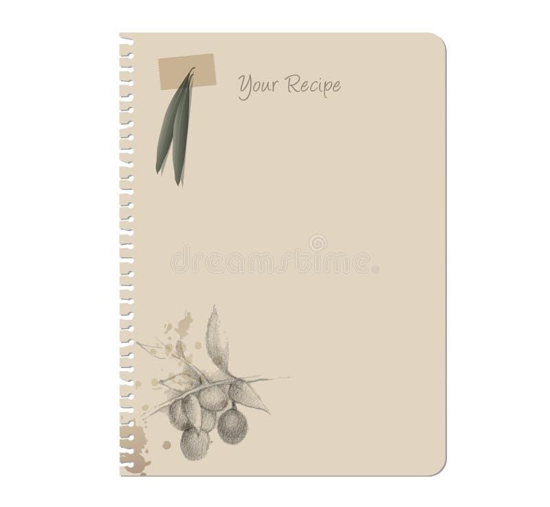 Bosquejo dibujado mano del cuaderno y de las aceitunas stock de ilustración