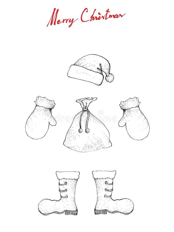 Bosquejo dibujado mano del ejemplo de Santa Clause Hat, de la bota, del bolso y de la manopla para Santa Claus Wearing que espera ilustración del vector