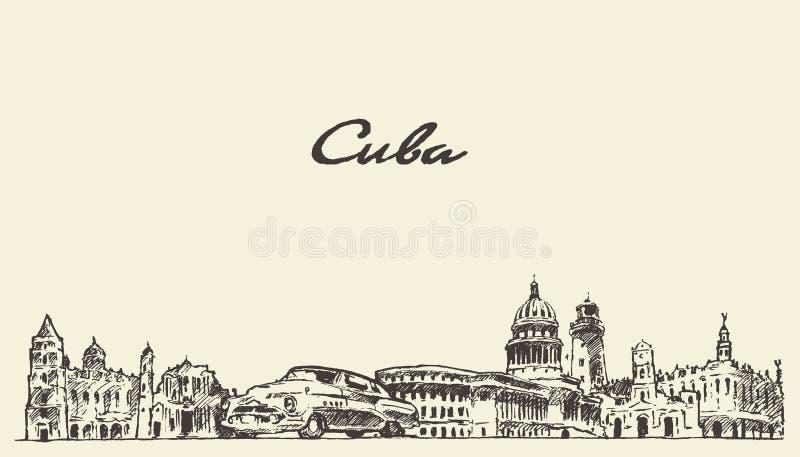 Bosquejo dibujado mano del ejemplo del vector del horizonte de Cuba libre illustration