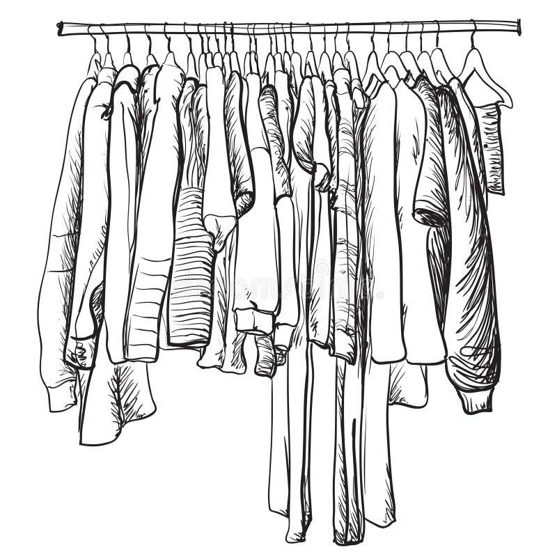 Bosquejo dibujado mano del guardarropa La capa y la otra ropa del invierno stock de ilustración