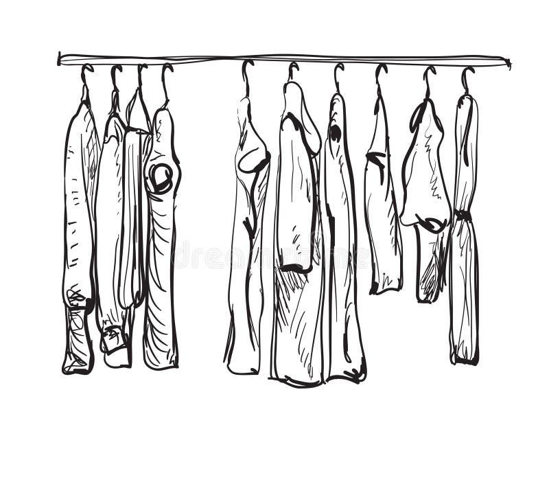 Bosquejo dibujado mano del guardarropa Ropa del otoño stock de ilustración