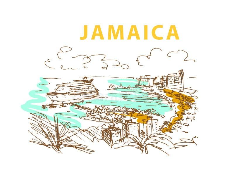 Bosquejo dibujado mano del paisaje de Jamaica libre illustration