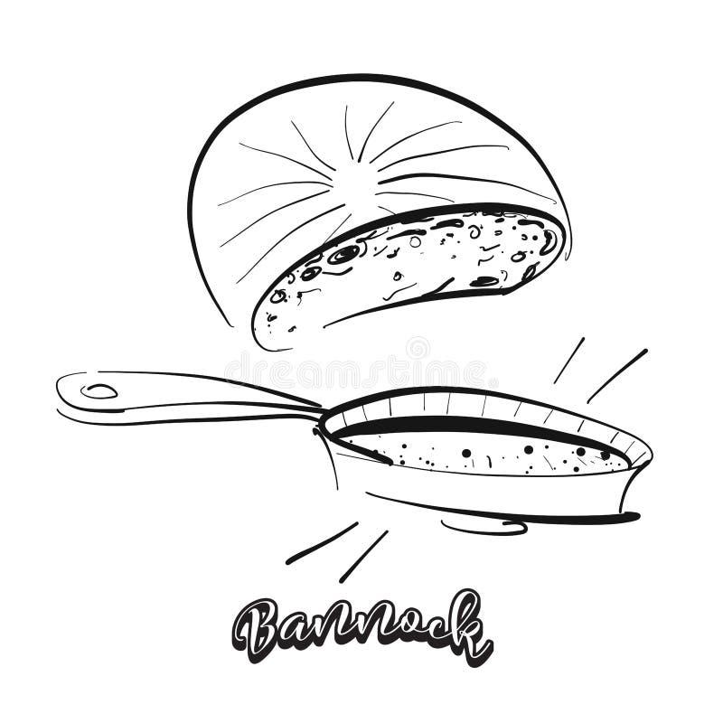 Bosquejo dibujado mano del pan del Bannock stock de ilustración