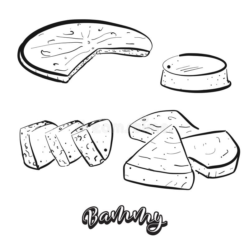 Bosquejo dibujado mano del pan de Bammy stock de ilustración
