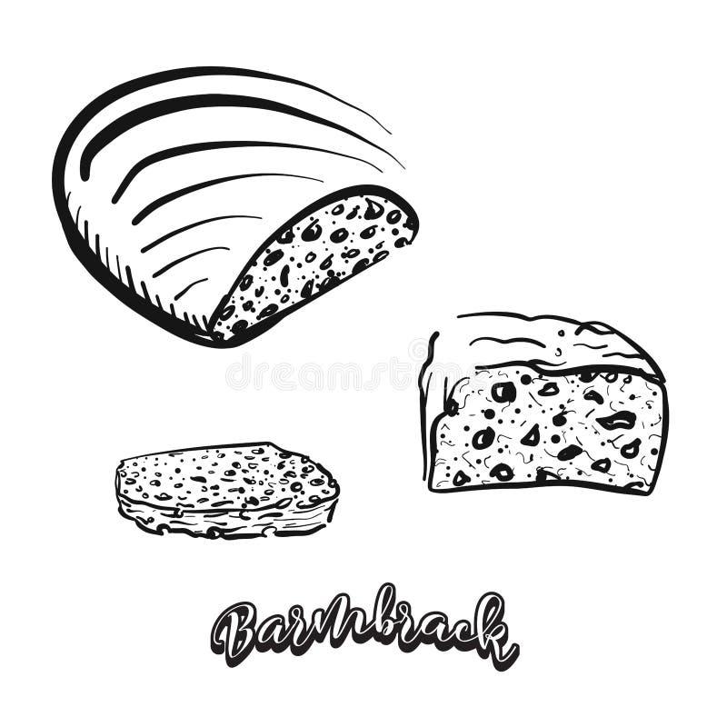Bosquejo dibujado mano del pan de Barmbrack libre illustration