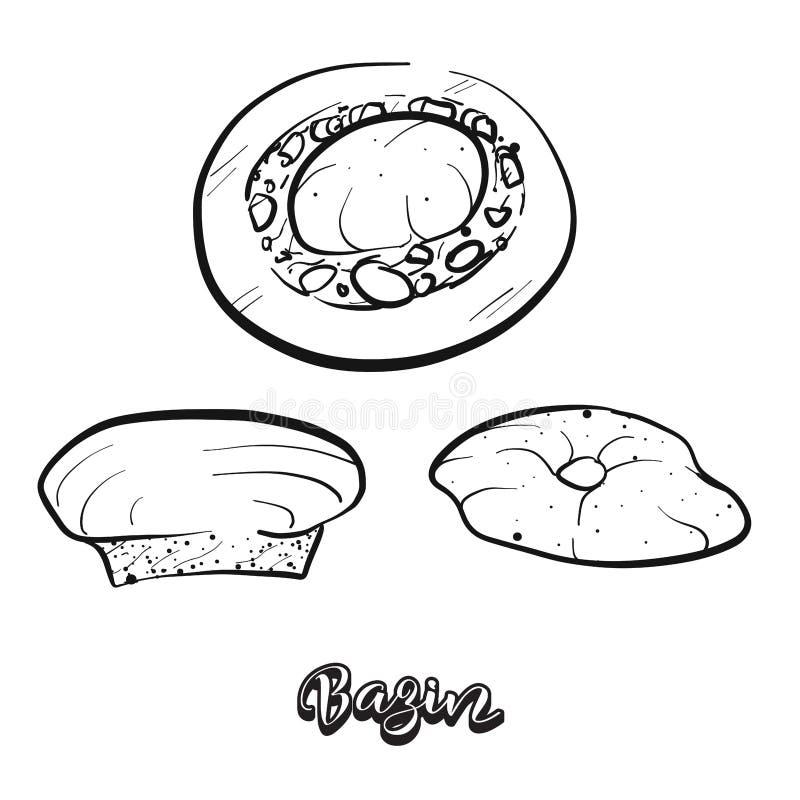 Bosquejo dibujado mano del pan de Bazin ilustración del vector
