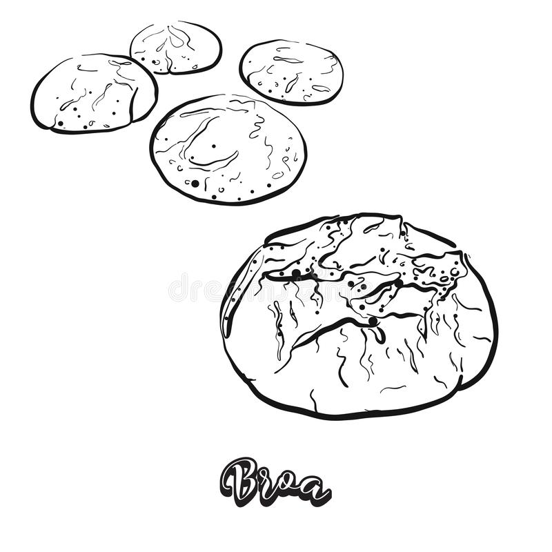 Bosquejo dibujado mano del pan de Broa libre illustration