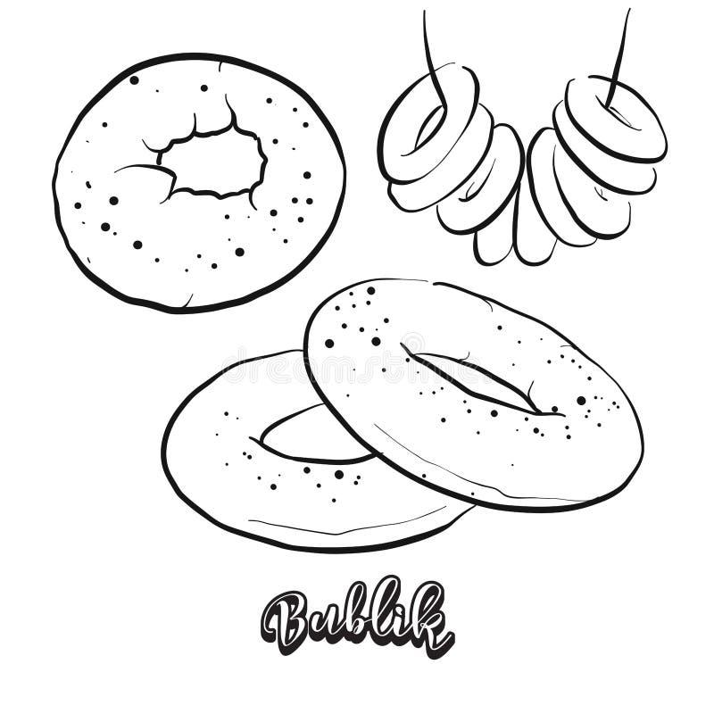 Bosquejo dibujado mano del pan de Bublik stock de ilustración