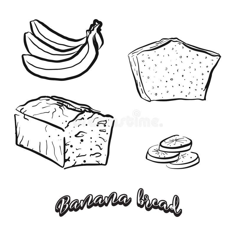 Bosquejo dibujado mano del pan de plátano ilustración del vector