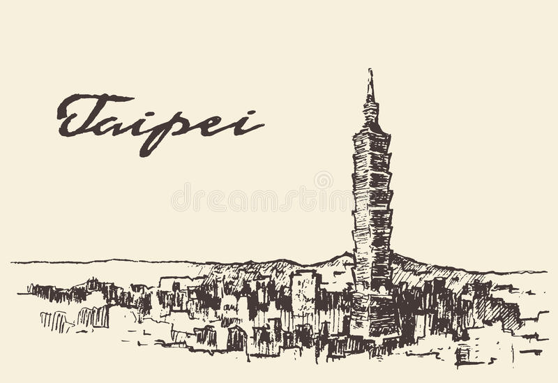 Bosquejo dibujado mano del vector de Taiwán del horizonte de Taipei ilustración del vector