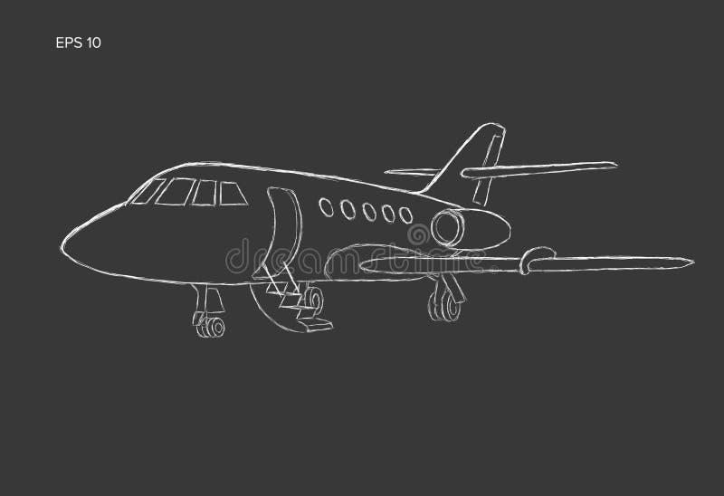 Bosquejo dibujado mano del vector del jet privado Estilo de la tiza del ejemplo del jet del negocio libre illustration