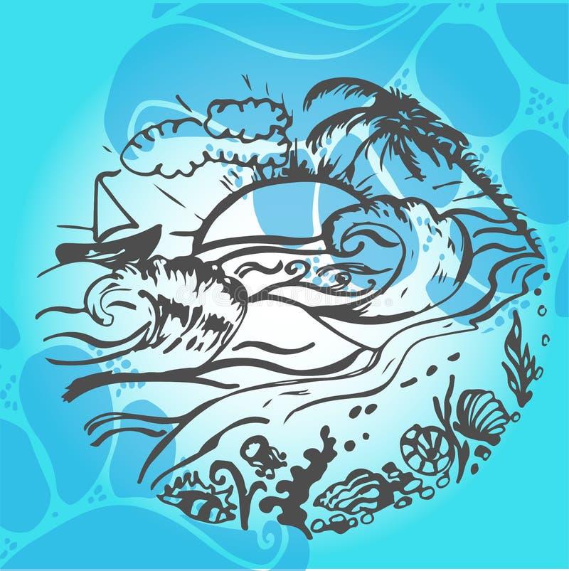Bosquejo dibujado mano del viaje para el diseño Viaje de la aventura stock de ilustración